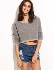 Brown Drop Shoulder Crop Chunky Knit Sweater