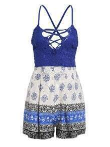 Blue Tribal Print Criss Cross Lace Romper