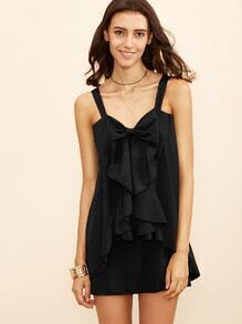 Black Strap Bow Front Layered Dress