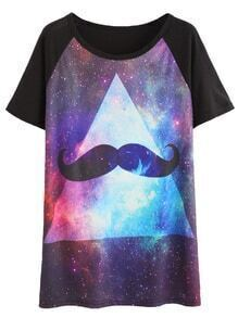 Black Galaxy Print Short Sleeve T-shirt