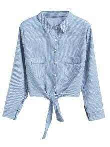 Blue Vertical Striped Tie Detail Blouse With Pockets