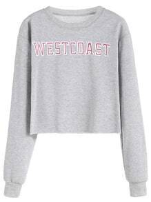 Grey Letter Print Long Sleeve Sweatshirt