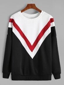 Black Color Block Drop Shoulder Varsity Sweatshirt