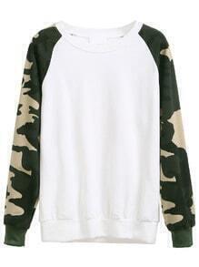 White Camouflage Print Raglan Sleeve Sweatshirt