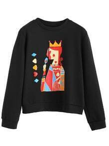 Black Poker Print Long Sleeve Sweatshirt