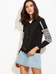 Black Printed Button Up Baseball Jacket With Pockets
