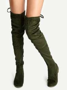 Olive Green Suede Lace Up Over The Knee Boots