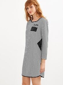 Black White Striped Embroidered Patch Contrast Studded Tee Dress
