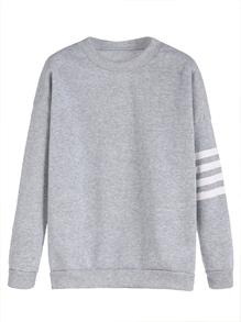 Light Grey Sleeve Striped Dropped Shoulder Seam Sweatshirt