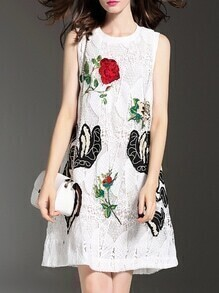 White Crochet Hollow Out Embroidered Shift Dress