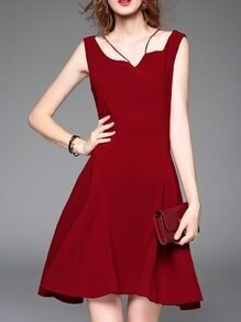 Burgundy Strap Backless A-Line Dress