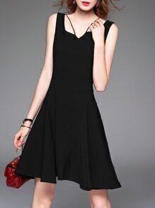 Black Strap Backless A-Line Dress