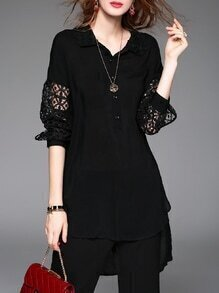 Black Lapel Crochet Hollow Out High Low Blouse