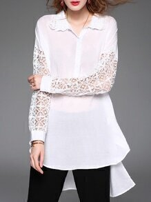 White Lapel Crochet Hollow Out High Low Blouse