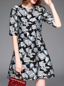 Black Flowers Jacquard A-Line Dress