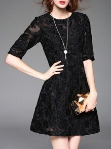 Black Organza Jacquard A-Line Dress
