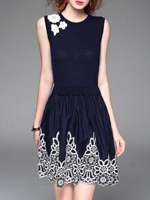 Navy Embroidered Knit Combo Dress