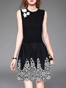 Black Embroidered Knit Combo Dress