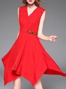 Red V Neck Asymmetric Dress