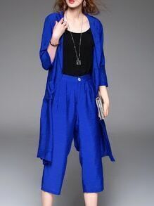 Blue Coat And Tank Top With Pockets Pants