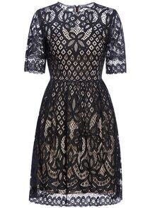 Black Hollow Lace A-Line Dress
