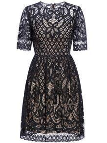 Black Hollow Lace A-Line Dress
