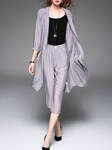 Grey Coat And Tank Top With Pockets Pants