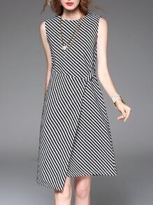 White Black Chevron Striped Asymmetric Dress