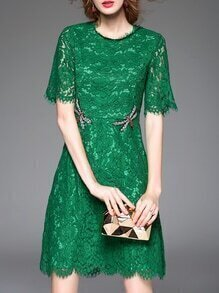 Green Dragonfly Beading Lace Dress