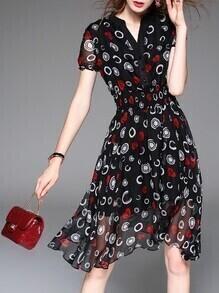 Black V Neck Elastic-Waist Sheer A-Line Dress