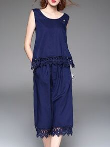 Navy Backless Belted Crochet Hollow Out Jumpsuit
