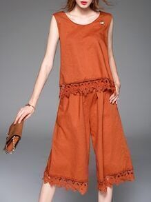 Orange Backless Belted Crochet Hollow Out Jumpsuit