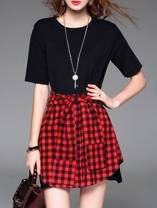 Red Black Check Tie-Waist Dress