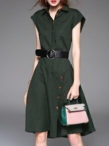 Green V Neck Belted A-Line Dress