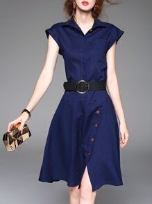 Blue V Neck Belted A-Line Dress