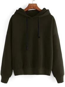 Army Green Drop Shoulder Hooded Sweatshirt