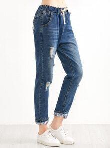 Blue Ripped Drawstring Roll Hem Jeans