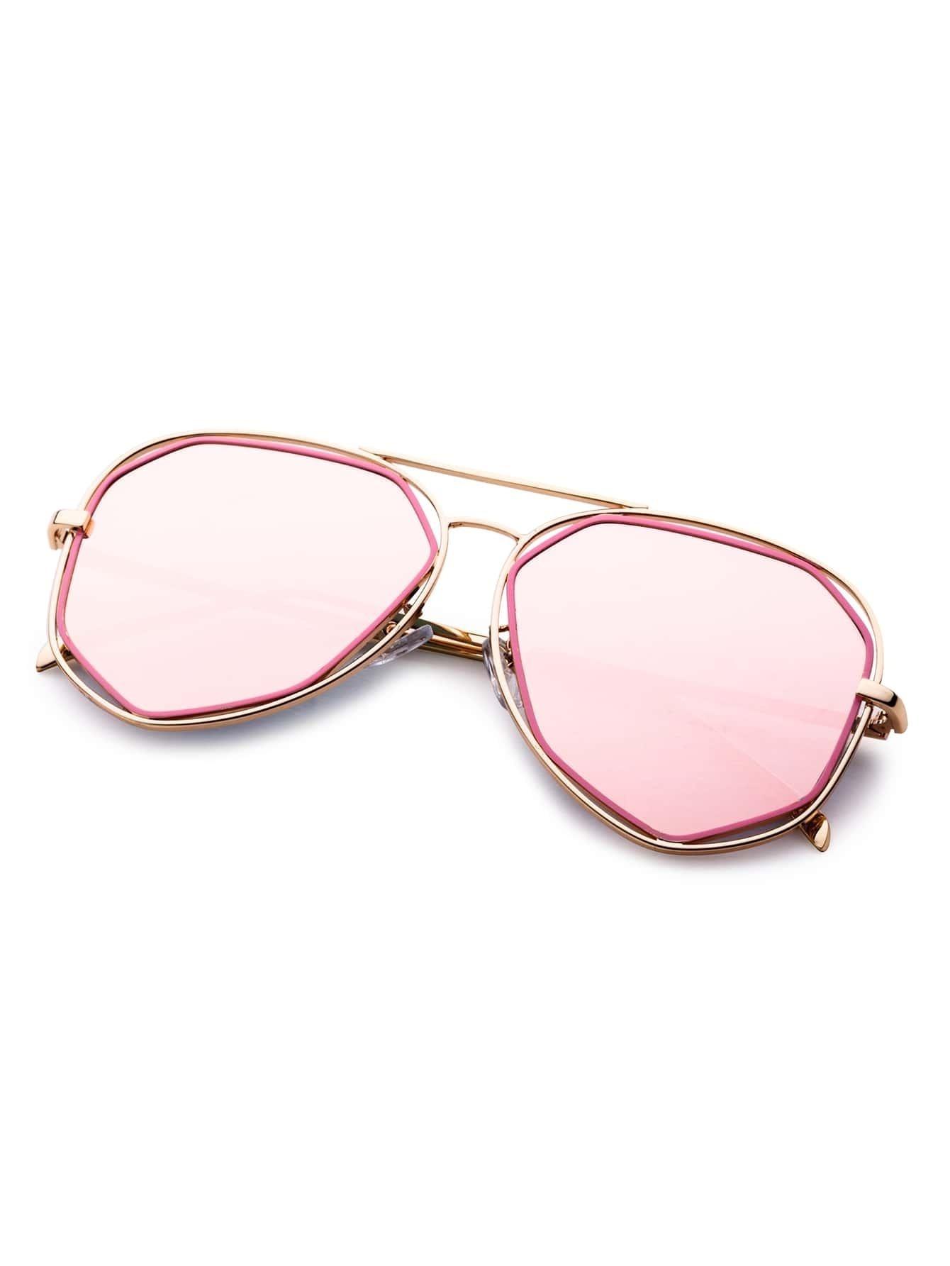 lunettes de soleil creux monture en m tal verre rose romwe. Black Bedroom Furniture Sets. Home Design Ideas