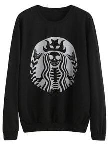 Black Printed Casual Sweatshirt