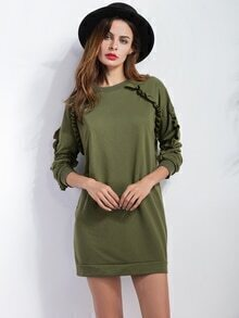 Army Green Ruffle Details Sweatshirt Dress