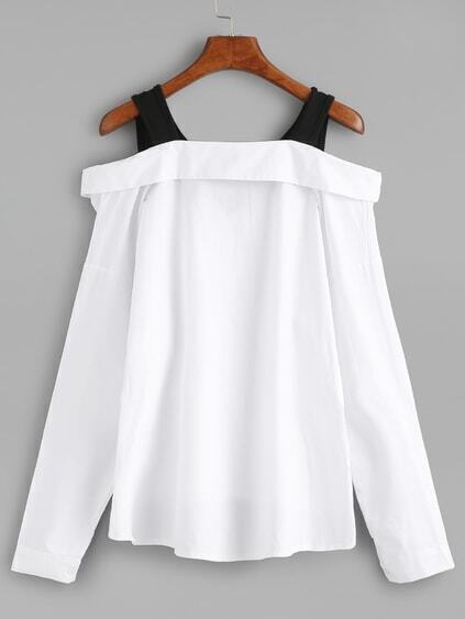 White Black Fold Over Cold Shoulder Blouse