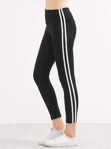 Black Contrast Striped Side Leggings