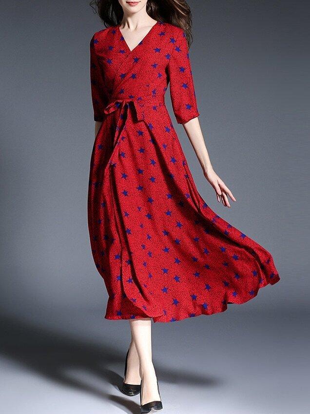 Robe imprim toiles col v avec ceinture rouge french romwe for Interieur paupiere inferieure rouge