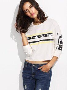 White Letter Print Crop Sweatshirt
