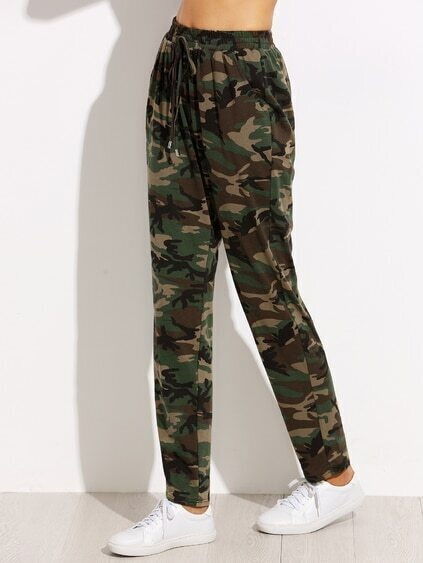 Olive Green Camo Print Drawstring Jersey Pants