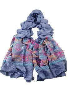 Gray Bohemian Style Flower Printed Scarf For Ladies