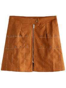 Khaki Metal Eyelet Suede A-Line Skirt With Zip Detail