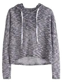Drop Shoulder High Low Drawstring Hooded Sweatshirt