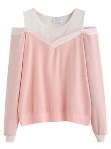 Pink Striped Contrast Open Shoulder Sweatshirt