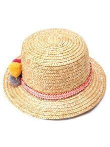 Beige Pom Pom Trim Straw Hat